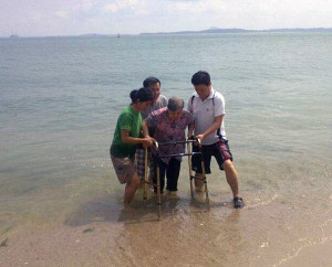 Water Baptism using walking aid