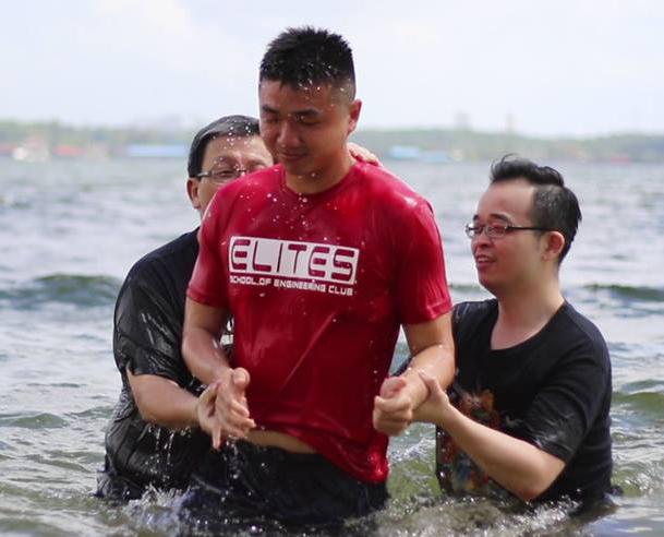 Ivan's water baptism at Sembawang Park