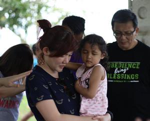 Praying for Sis Cecilia at Sembawang Park